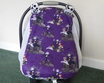 NIGHTMARE BEFORE CHRISTMAS Fitted, w/Mosquito & bug Netting Baby Car Seat Canopy Cover for warm climate and summer babies