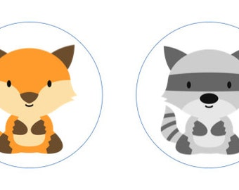 Little Woodland (Fox & Raccoon) Edible Cupcake Topper Decorations - Set of 12 Toppers