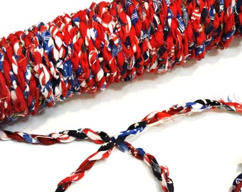 Red White Blue Craft Cord, Cotton Rag Rope, Tattered Hand Twisted Fabric Twine, Gift Wrap Ribbon, Textile Fiber Embellishment itsyourcountry