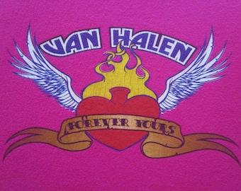 Van Halen Shirt. Women's Van Halen Shirt. Vintage T-shirt. Graphic Tee. Top. Fitted Top. Retro Hot Pink Women's Large. Bright Streetwear.