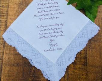 Wedding Handkerchief, Mother of the Groom Wedding Gift, Mother of the Bride handkerchief, Mother of Bride gift, PRINTED Hankerchief (H 025)