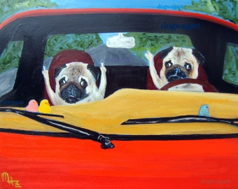 "Pug Art Print of an original oil painting - ""Road Rage""- 8 x 10 - Dog Art"