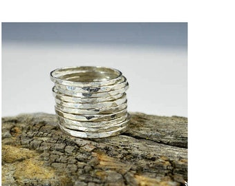 Thin .999 Pure Silver Stackable Ring(s), Stack Rings, Stacking Rings, Made to Order, Hammered Silver Ring