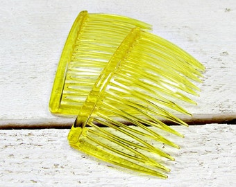 Vintage 1970s GOODY Translucent Yellow Plastic Hair Combs (Set of 2)- Hair Accessories for Girls Women