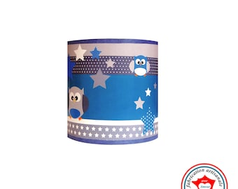 """Child lamp Applique """"The owls see life in blue"""""""