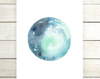 "Planet Watercolor Painting. ""Joli"" Fine Art Print. Galaxy. Decor. Giclée"