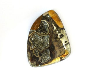 Fossil Ammonite with Nautral Pyrite Druzy Designer Cabochon Gemstone 46.9x63.7x7.6 mm 172.0 carats Free Shipping
