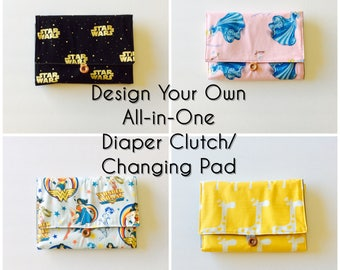 DESIGN YOUR OWN All-in-One Diaper Clutch and Changing Pad, custom fabric, waterproof lining