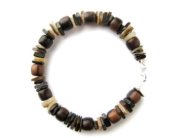 """Men's bracelet handmade from wood beads and real brown shell - """"Chocolate Surfer"""""""