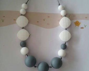 Silicone beaded Teething Necklace, White and Gray Teething Necklace for Mom, Sensory Beads, Teething Beads, BPA Free, Fidget