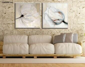 Wall Art Set, Large Wall Art, Canvas Art Set, Modern Canvas Art, Large Canvas Set, Modern Art Print, Canvas Flowers Wall Art, Canvas Set