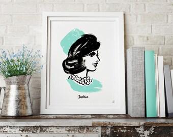 Jaqueline Kennedy Fashion Illustration | Digital Download | Art Print