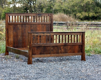 Classic Mission Style Bed Made From Vintage Reclaimed Oak