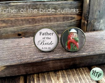 Father of the Bride gift, Personalized Photo Cufflinks, Father of the Bride cufflinks
