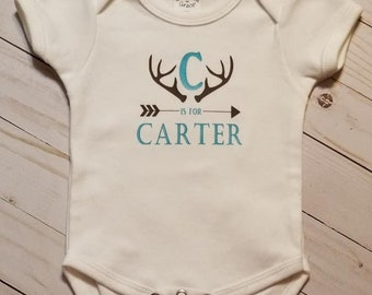 Personalized baby bodysuit, Monogram,Antlers,Hunting,baby boy, baby girl, baby shower, going home,infant