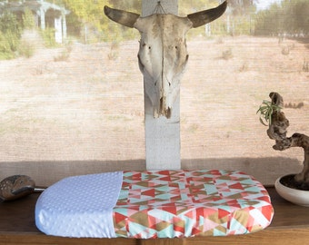 Mojave Sunrise Changing Pad Cover, Mint, Gold, Coral, Blush, Minky, Diaper, Baby Shower Gift, Newborn, Girl
