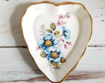 Blue floral heart shaped gold edged China dish, ring dish,  jewelry dish