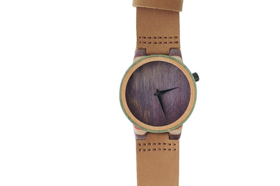 7PLIS watch #117 Recycled SKATEBOARD #madeinfrance yellow brown green wood