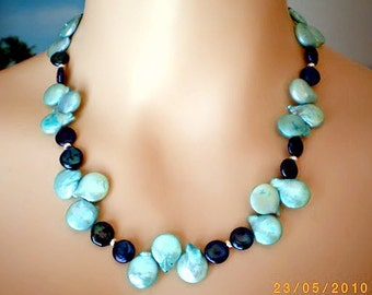 Necklace from light blue and dark blue Biwa Freshwater Pearls, strong Toggle - Closure