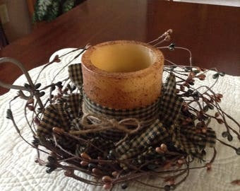 Rustic Country Decor w/Flameless timer pillar candle