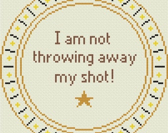 Hamilton Musical Quotation Round Cross Stitch Pattern  (INSTANT DOWNLOAD)
