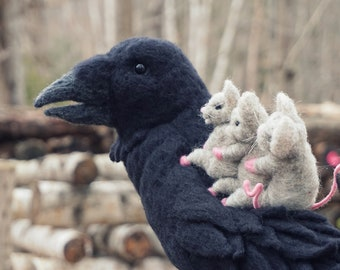 Needle Felted The Raven and Mice - Needlefelted Wool Bird and Animal Soft Sculpture