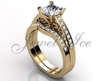 Engagement Ring Set - 14k Yellow Gold Diamond Unique Art Deco Filigree Scroll Wedding Band Engagement Ring Set Bridal Set ER-1122-2