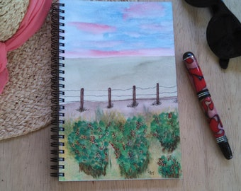 Hand Painted Cover; Spiral Journal Sketchbook Notebook; Premium Unlined Paper for Writing, Sketching, Doodling; Landscape with Fence