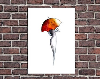 Home decor painting . jpg printable digital poster instant download,woman ,umbrella, decoration ,watercolor