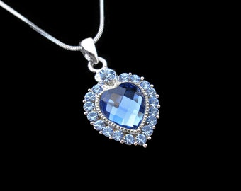 Crystal Heart Pendant Charm Necklace Silver Tone Light Sapphire Blue With 10mm Heart Blue