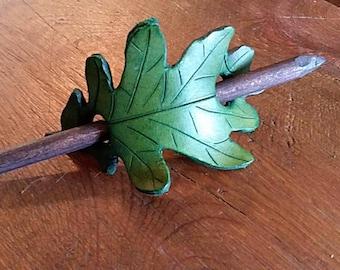 Green leaf barrette hand carved