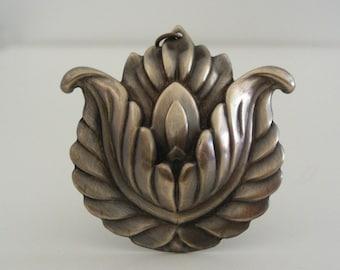 Vintage Brass - Brass Pendant -  Lotus Flower Necklace  - Vintage Brass Stamping - DIY Necklace - Yoga Necklace