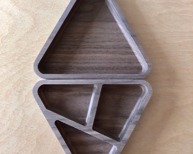Set of 2 triangle wood desk organizers