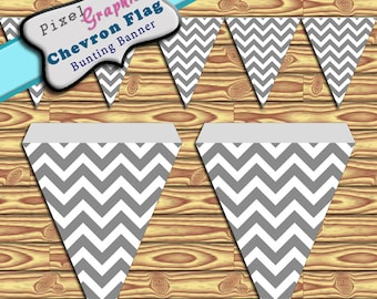 Party Banner Grey Chevron Printable Banner Bunting Instant Download