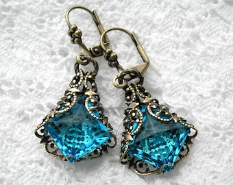 Aquamarine Filigree Wrapped Glass Earrings - Morning Glory Designs