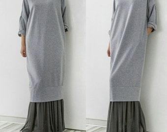 Grey Maxi dress/ Long dress/ Oversized dress/ Plus size dress/ Casual dress/ Day dress/ Spring dress