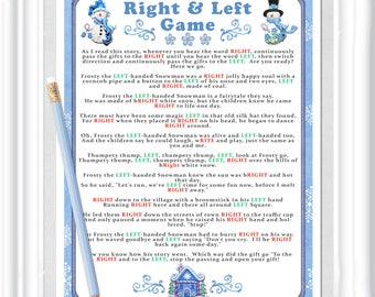 WINTER RIGHT and LEFT Story/Game, Instant Download, Winter or Christmas party game, Cookie Exchange game, Baby or Bridal shower game