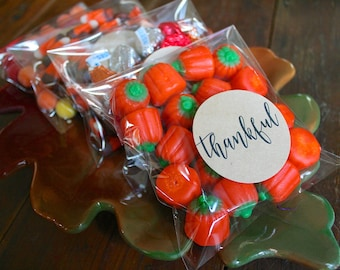 """Thanksgiving favor labels, 2"""" round stickers, set of 20, Thankful Grateful Joyful Blessed, Matte white or Kraft brown, add clear favor bags"""