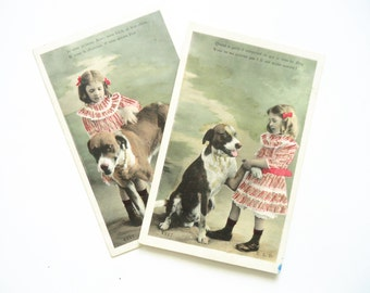 Lot of two antique dog postcards - Little girl child, Edwardian dress ribbons, big dog animal pet, paw lover love, french hand tinted, 1900