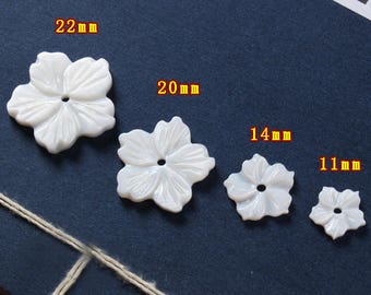 10pcs White Carved Mother of Pearl Shell Flowers   - natural mother of pearl beads - MOP beads for jewelry design(BK1033)