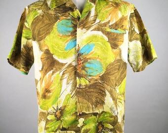 "Vintage 60s Mens Brown, Blue & Yellow Floral Cotton Hawaiian Shirt, Waltah Clarke Honolulu, Chest 48"", 1960s Aloha Shirt, Tiki Party Time!"