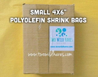 """500-SM 4x6"""" POLYOLEFIN Shrink Bags, (Smell Through Plastic), 75 g, BEST Wrap Available for Soap, Bath Bombs Etc"""