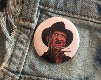 freddy krueger, nightmare on elm street, 1.5 inch pin back button, 37 mm pinback button