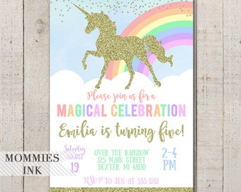 Unicorn Birthday Invitation, Unicorn Invitation, Pastel Rainbow Invitation, Magical Unicorn Invitation, Gold Unicorn Invitation, Sparkle