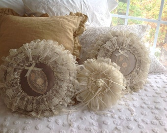 RESERVED Lace and Satin Pillow French Antique Pillow Ivory ~ Gift for Mom, Grandma, Wife, Aunt ~ Romantic  Home ~ Decorator Pillows