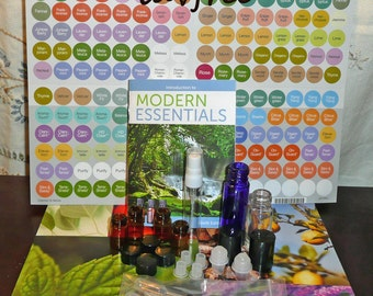 218 Piece Essential Oil Accessory Sample Kit lot w/ glass Blue Roll On Amber Vials Spritzer Pipette doterra labels + modern essentials guide