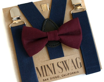 Marsala Bow Tie, Wine Bow Tie, Wedding Suspenders Navy, Boys Bow Tie Set, Ring Bearer Outfit, Bow Tie and Suspenders Set, Baby Boy Bow Tie