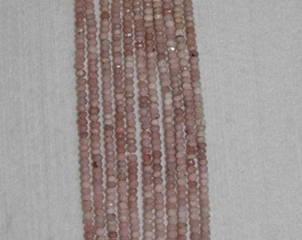 Opal, Peruvian Opal, Pink Peruvian Opal, Faceted Rondelle, Pink Opal Rondelle, Natural Stone, Semi Precious, Strand, 3.5 mm, Adrianas Beads