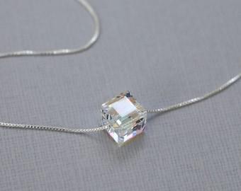 Swarovski Cube Necklace, Sterling Silver Necklace, Layering Necklace, Crystal Cube Necklace, Minimalist Necklace, Bridesmaid Necklace