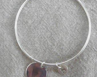 "Silver Bangle Bracelet ""Medal"" 62 mm + initial"